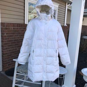 Jackets & Blazers - Macy's white down puffer jacket hoodie  16W